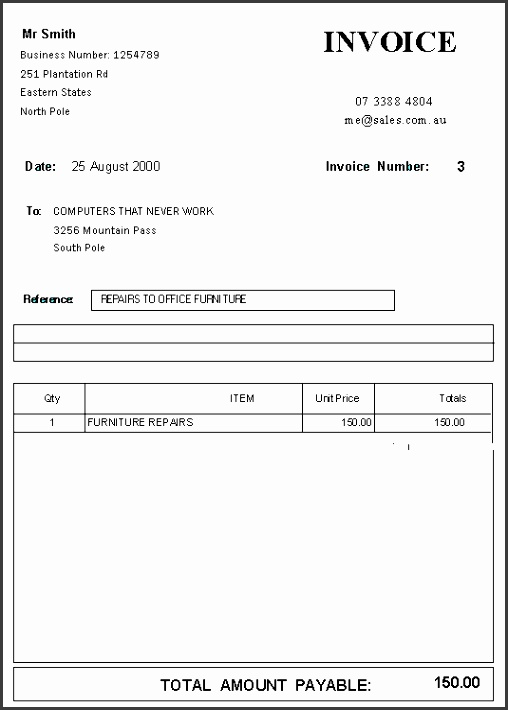 View of Standard Invoice