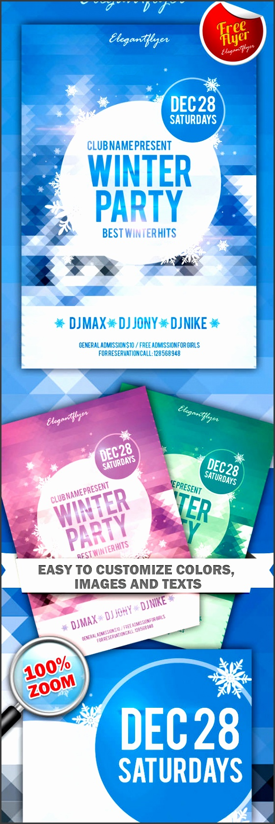Free Winter Party and Club Flyer PSD Template