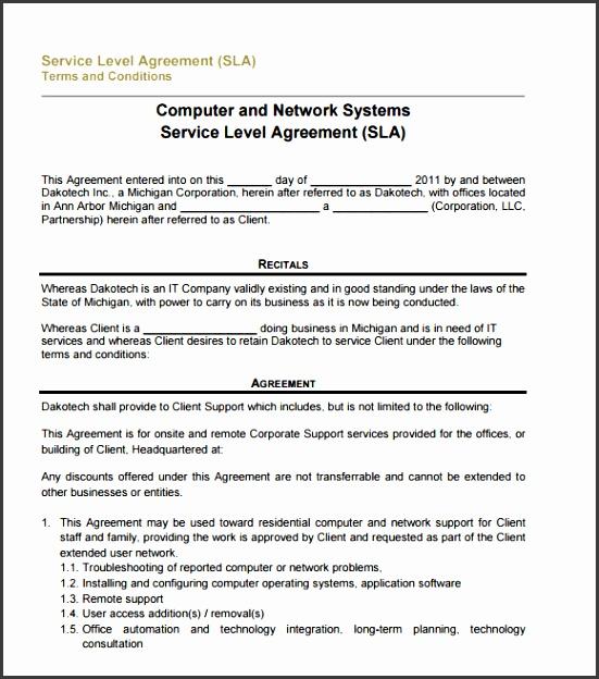 free service level agreement