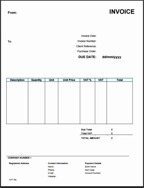 Free Vat Invoice Template