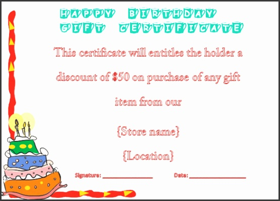 Example Birthday Gift Certificate Voucher Template Download