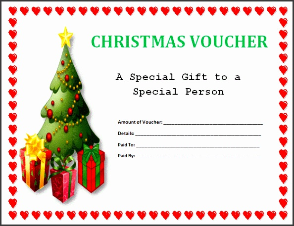 Simply Perfect Sample Blank Voucher Template For Christmas With Xmas Tree And Gifts And Red