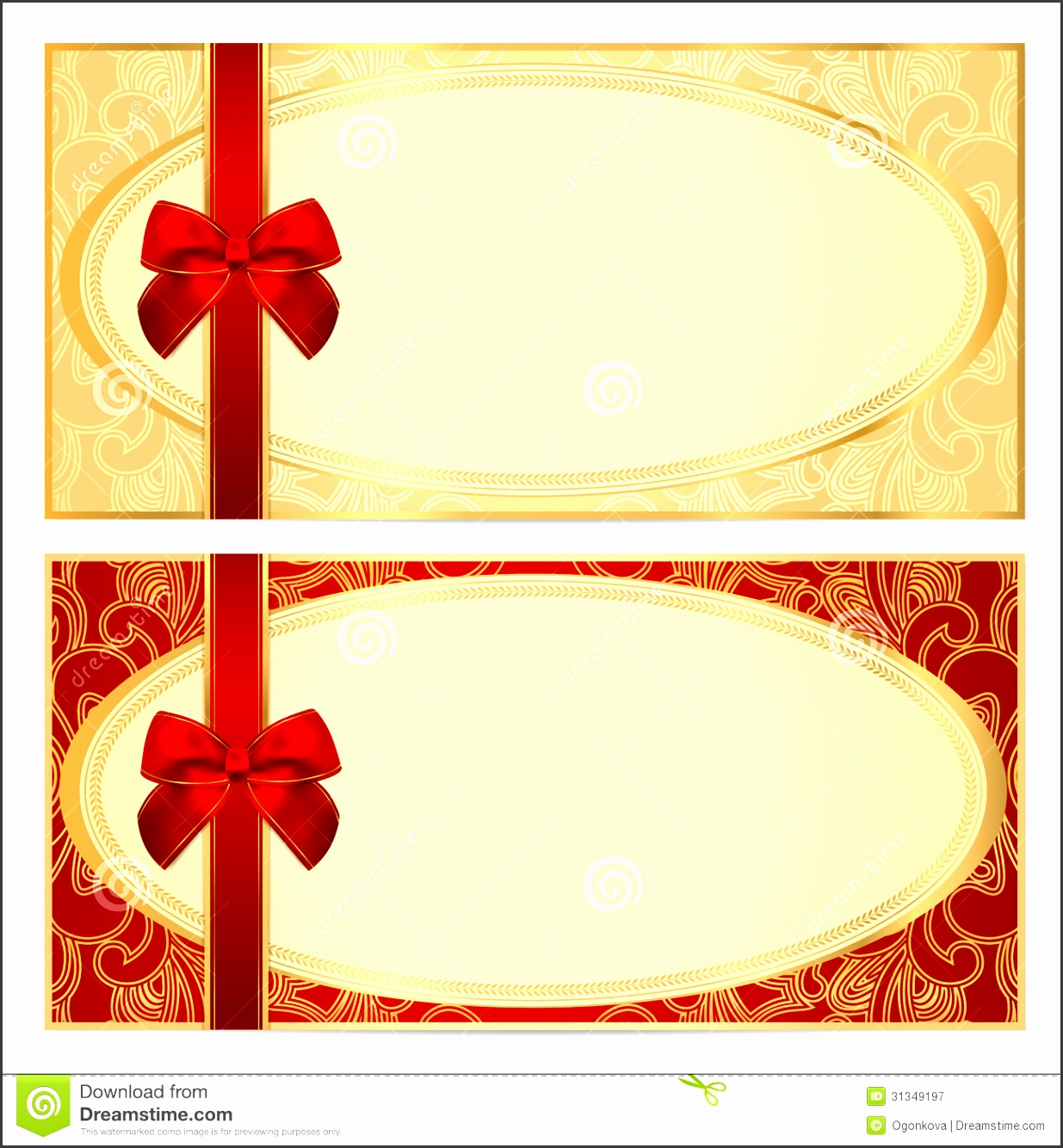 Gift certificate Voucher template Bow pattern