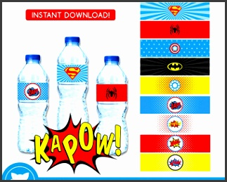 Superhero Water Bottle Labels INSTANT DOWNLOAD Superhero Water Bottle Wrappers