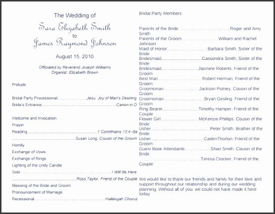 Download Free Wedding Program Template Editable PDF