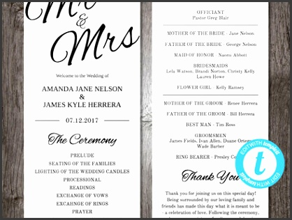 Printable Wedding Program Template Mr Mrs Instant Download