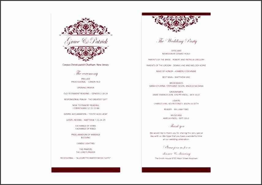 Wedding program template Printable Wedding Program Wedding program Ruby Victorian Ornate Microsoft Word format 5X7