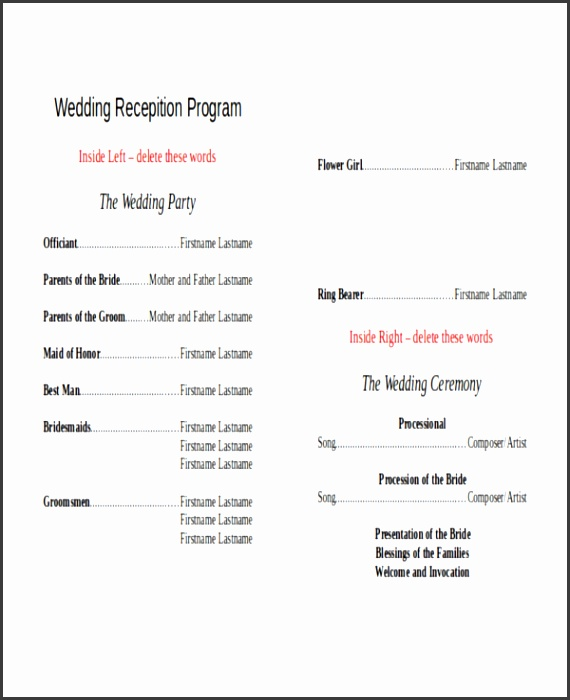 10 wedding program templates free sample example format