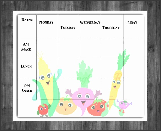 Daycare Menu Template Sample Download