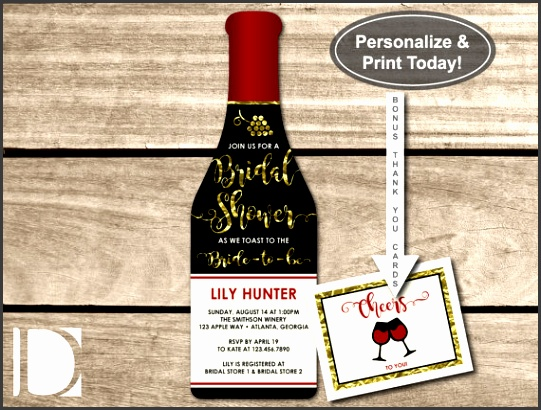 Wine Bottle Bridal Shower Invitation Template with FREE thank you card file by DeReimer DeSign for