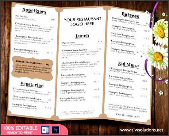 Food Menu Template Brochures