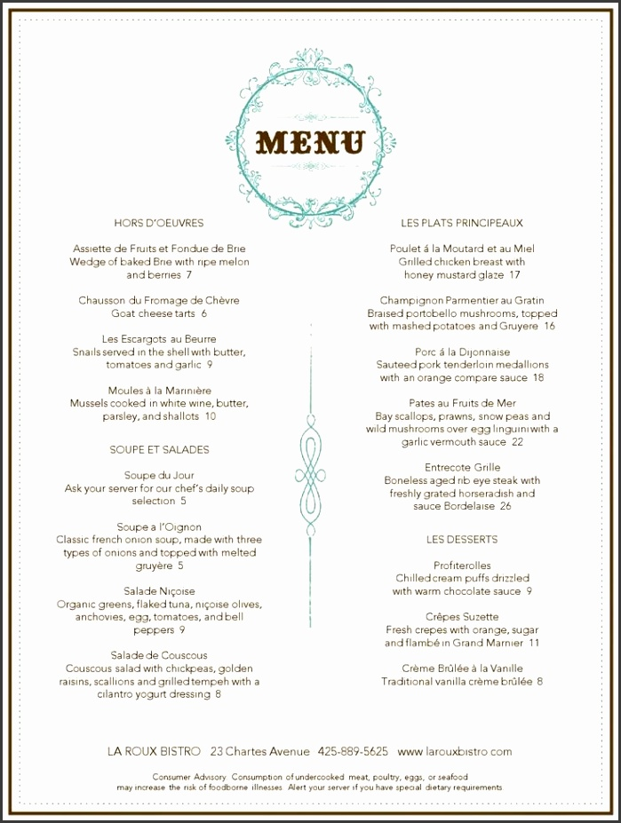 Celebrate French cuisine at its finest with our elegant collection of French menus and French food menu templates
