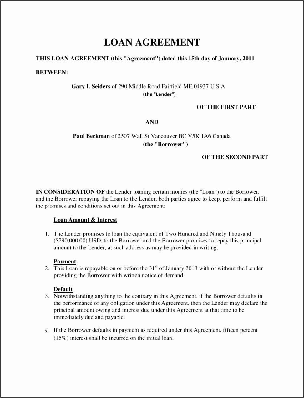 Agreement sample of personal loan doc money lending contract agreement sample of personal loan doc money