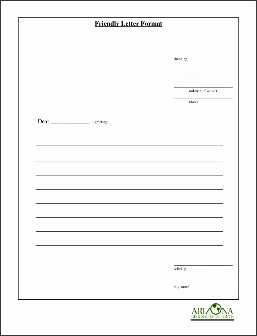 Friendly Letter Template Printable
