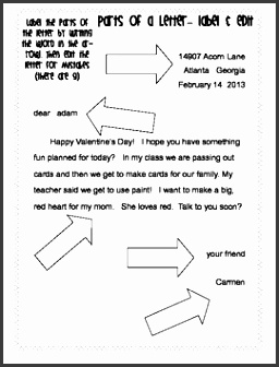 Friendly Letter template vocabulary worksheets