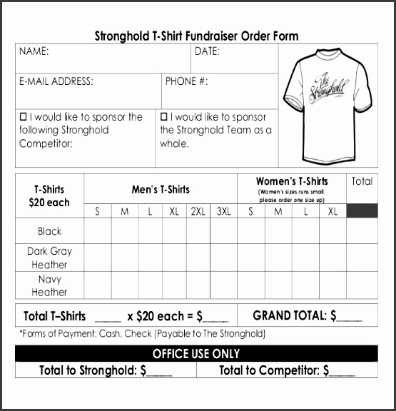 Sample Template for Shirt Fundraiser Order Form