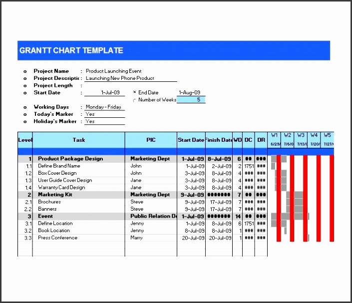 Printable Grantt Chart Template 05
