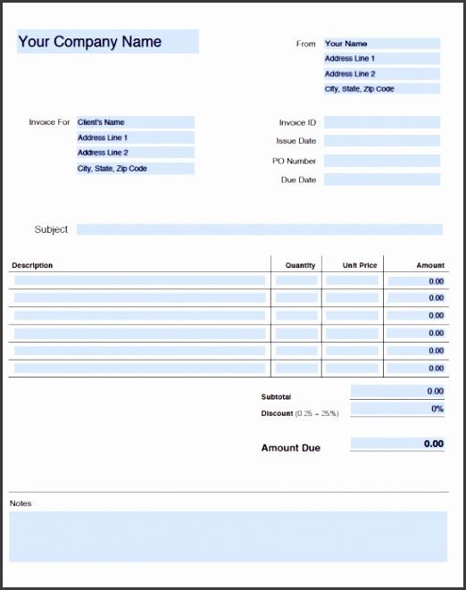 Generic Blank Invoice Template Adobe PDF