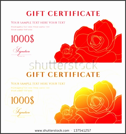 Gift certificate Voucher template with flower pattern abstract rose Background design usable