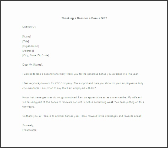 Sample Thank You Letter For Gift From Boss