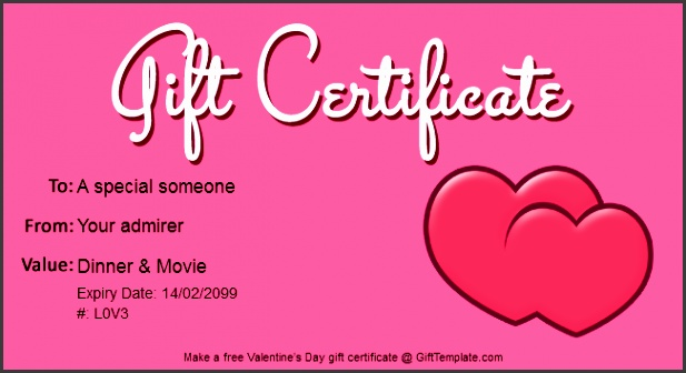 valentines day t certificate template