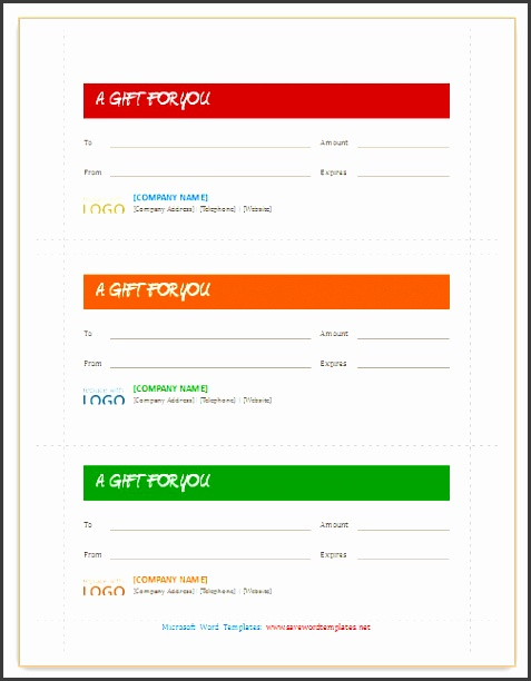Gift certificates Template