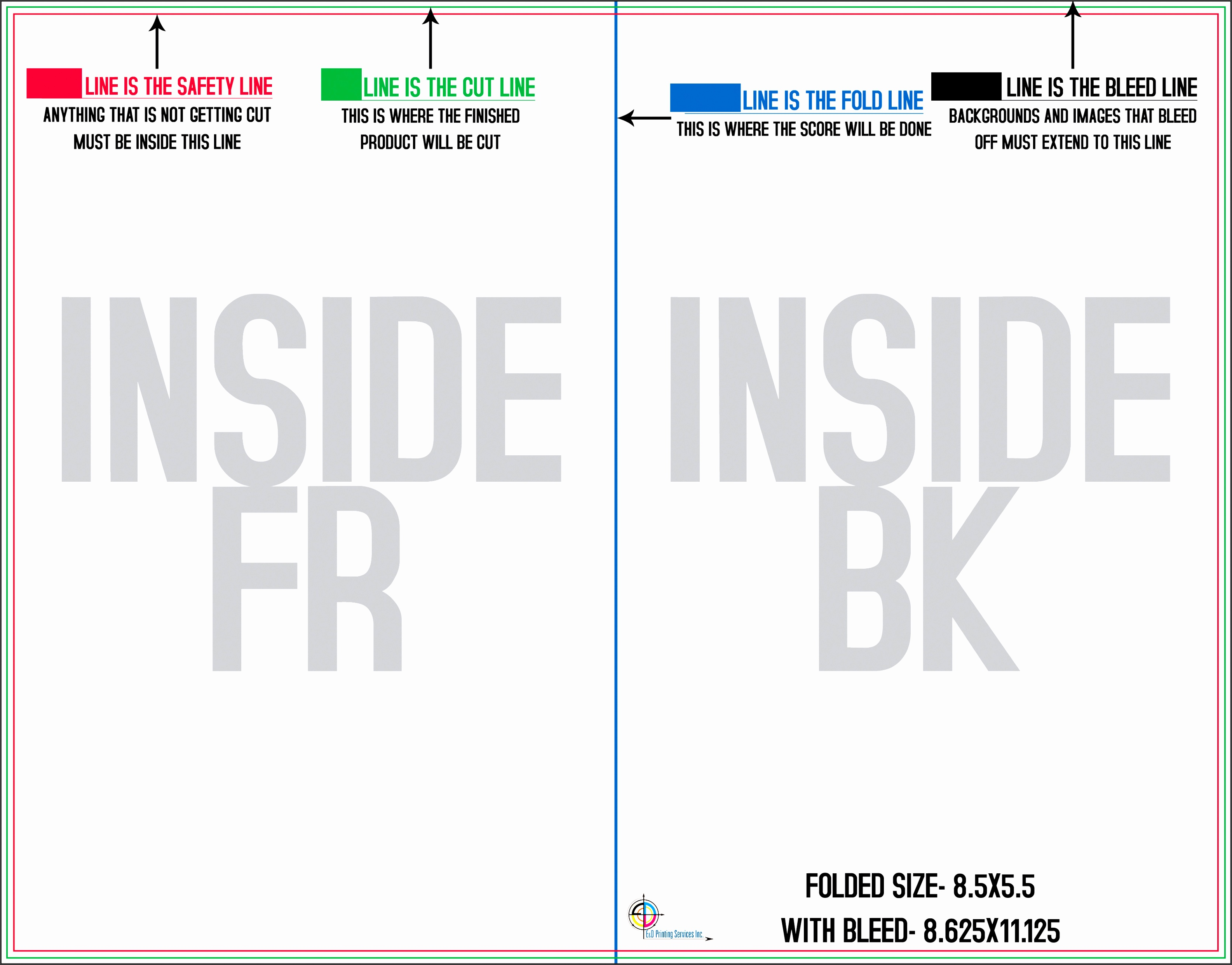 8 5″x11″ Back Greeting Card Template