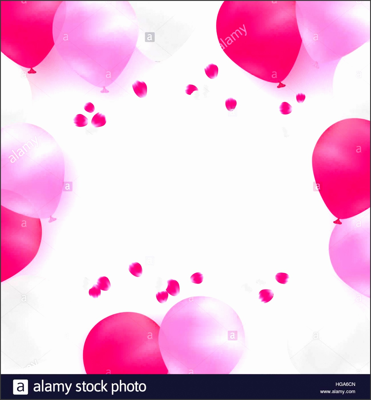 Greeting card template for wedding birthday Mothers Day White and pink balloons on