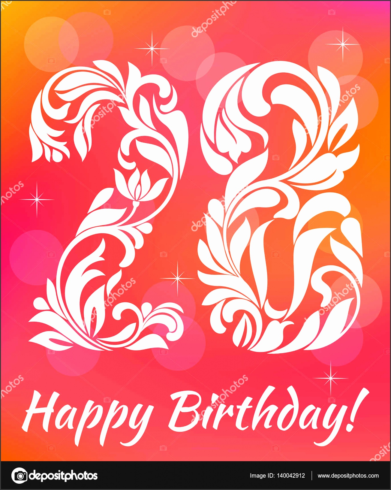 Bright Greeting card Template Celebrating 28 years birthday Decorative Font with swirls and floral