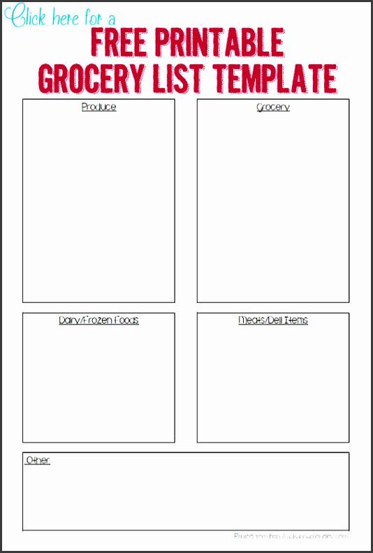 Printable grocery template Ask Anna