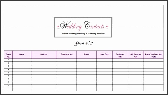 Wedding guest list template printable grand captures w
