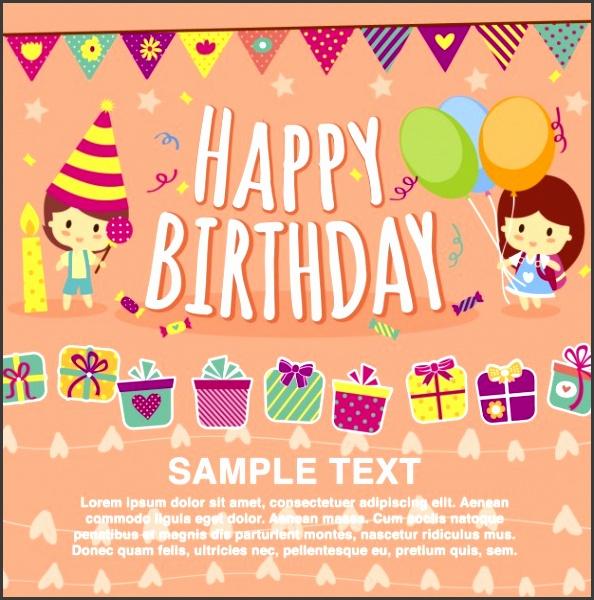 Happy birthday card template Free Vector