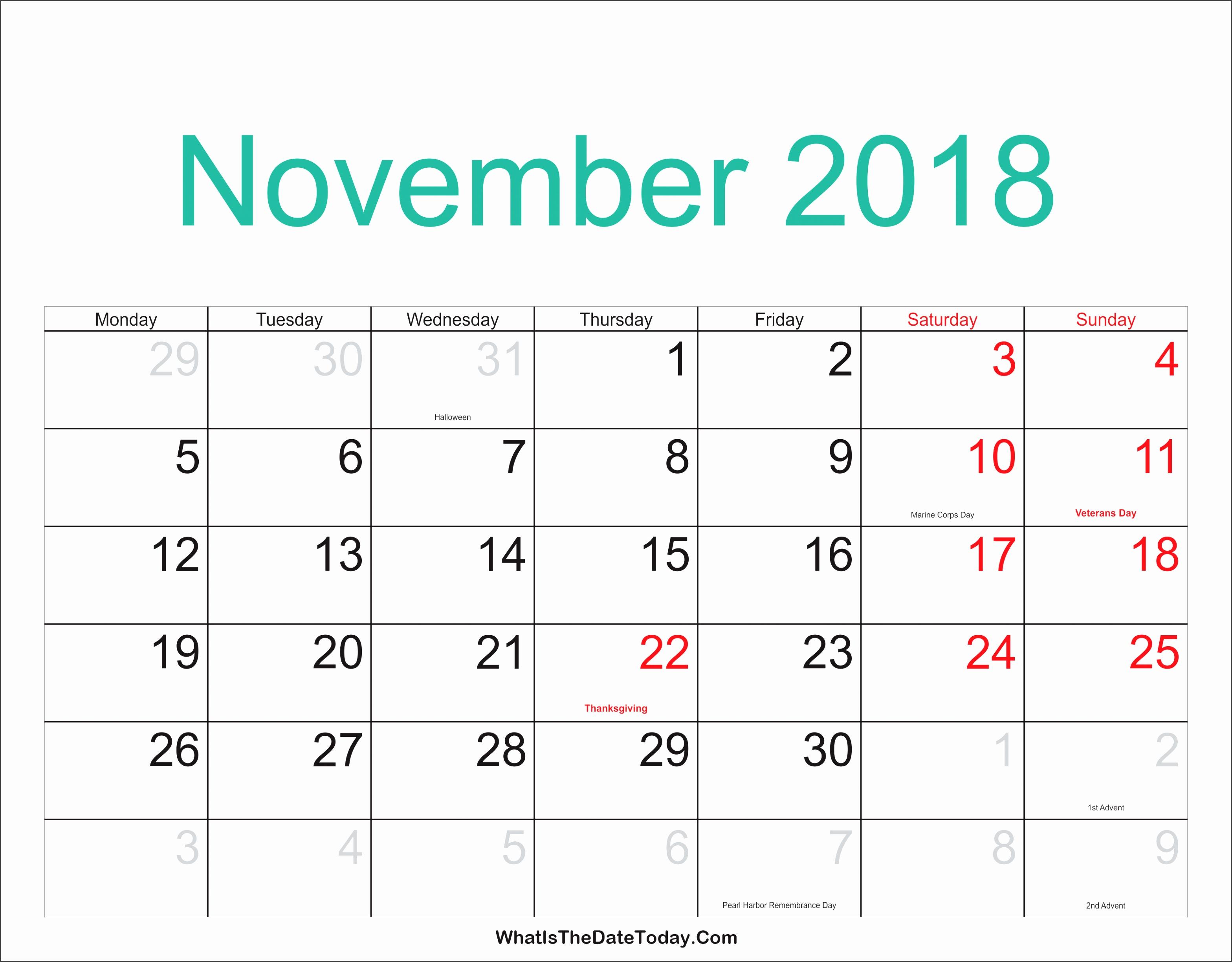 november 2018 calendar printable with holidays