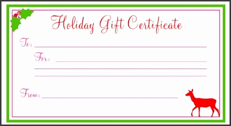Holiday Gift Certificate Template Free Printable – Printable in Christmas Gift Vouchers Templates 2017