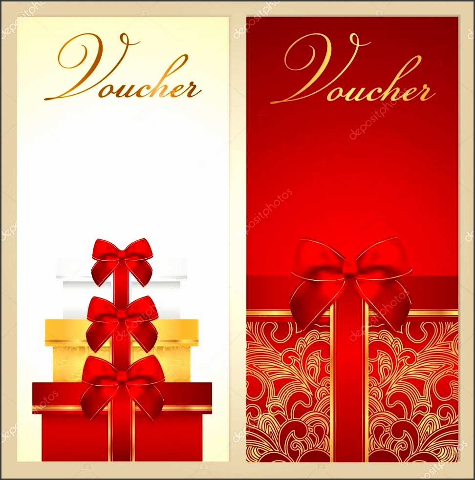 Voucher Gift certificate Coupon template with border bow ribbons present Holiday celebration background design Christmas Birthday for invitation