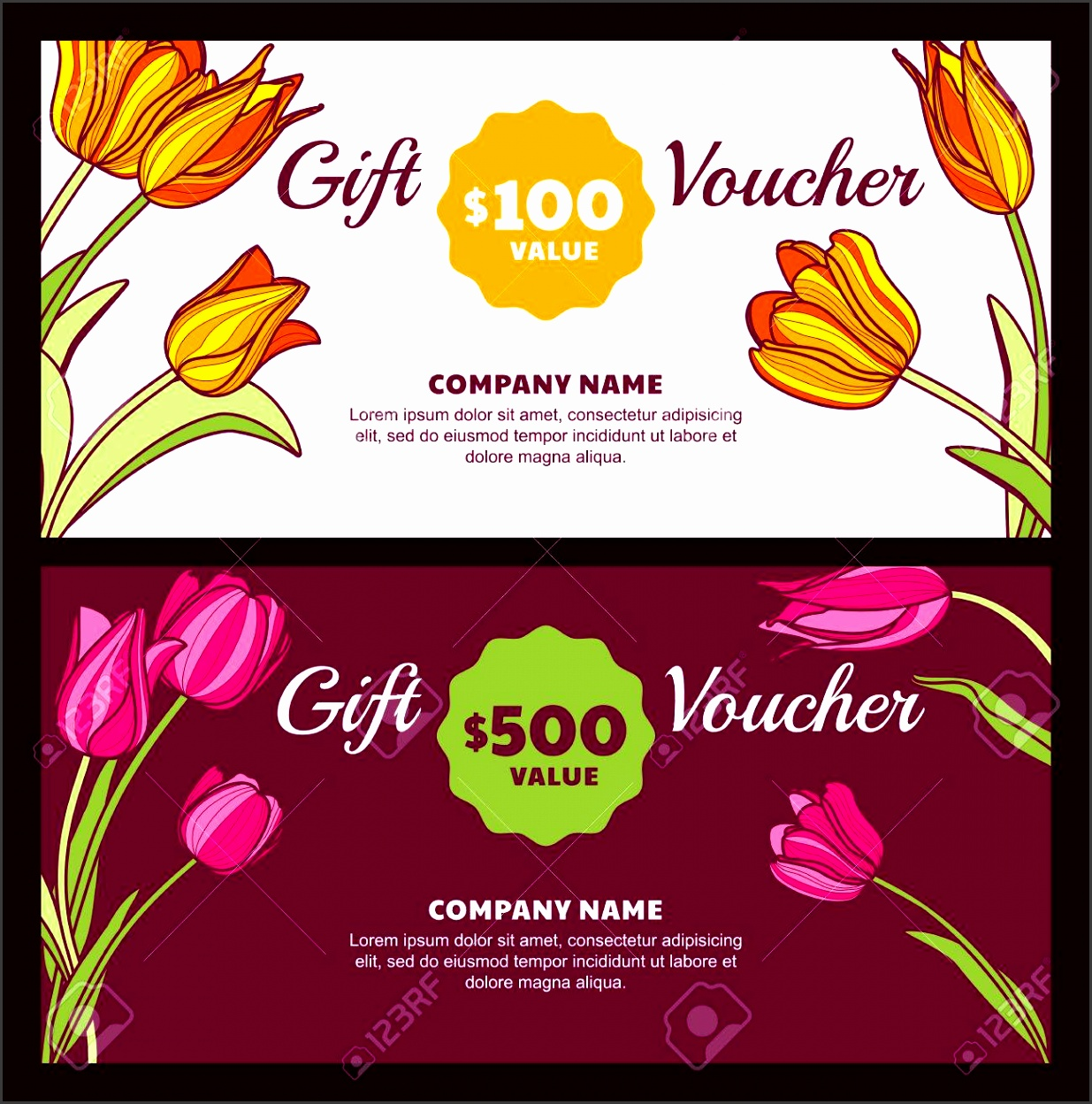 Vector floral t voucher template Colorful spring background with pink and yellow tulip flowers