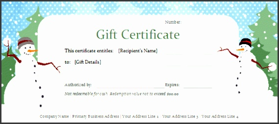 Snowman Holiday Gift Certificate within Template Holiday Gift Voucher