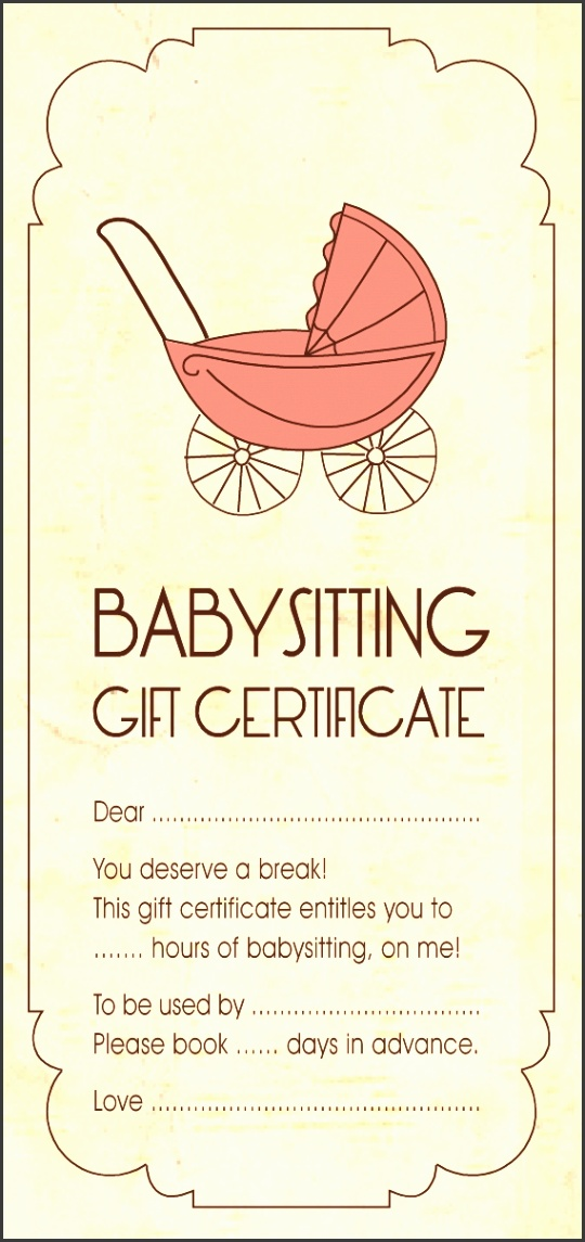 Homemade t certificate for babysitting