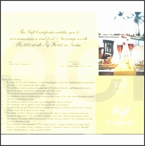 Taj Hotels Resorts and Palaces Gift Voucher
