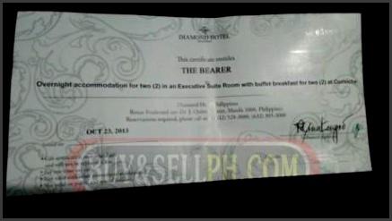 Diamond Hotel Gift Certificate Diamond Hotel Gift Certificate