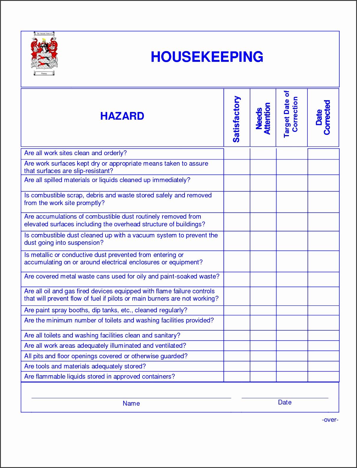 9 Best Hotel Housekeeping Checklist Printable