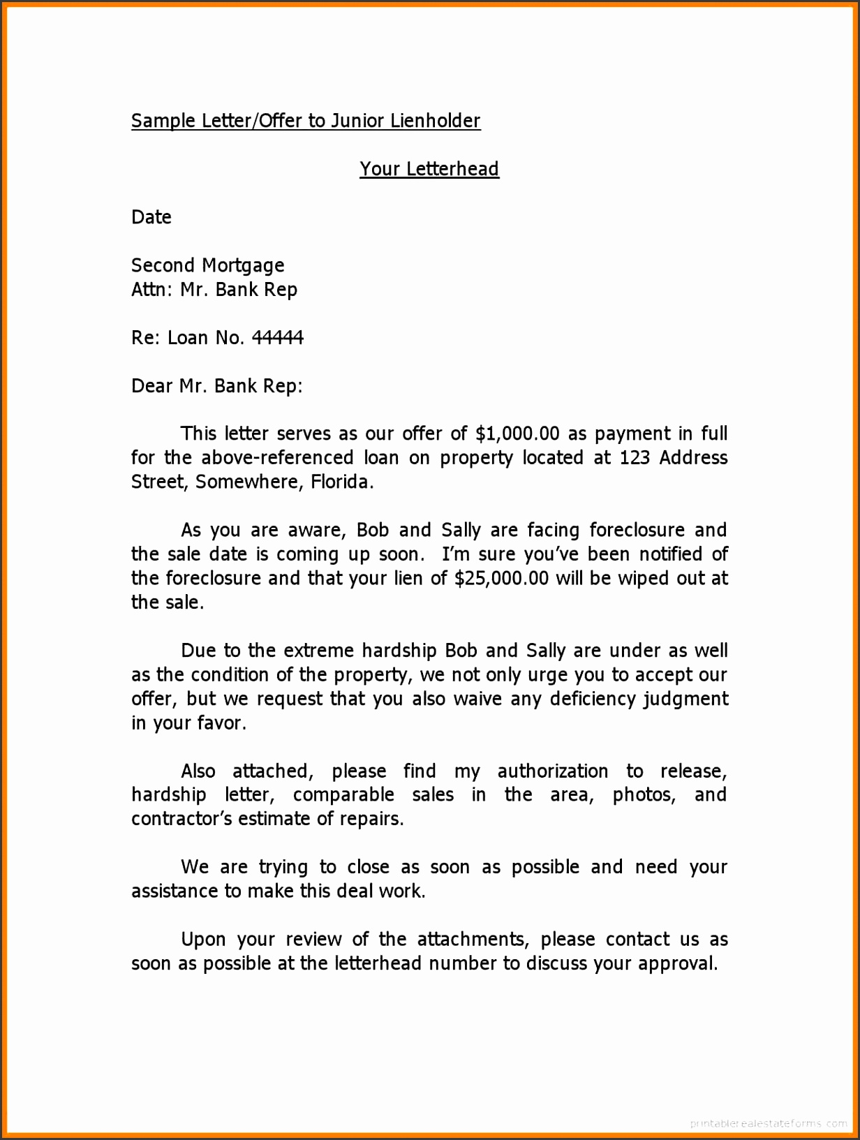 offer letter for house