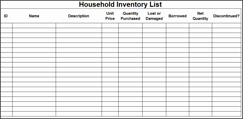 Home · Business Template · Nice Household Inventory List Template Sample