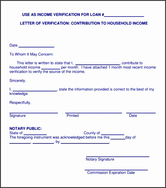 Proof of In e Letter Template Sample