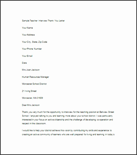 Sample Interview Thank You Note Teacher Download