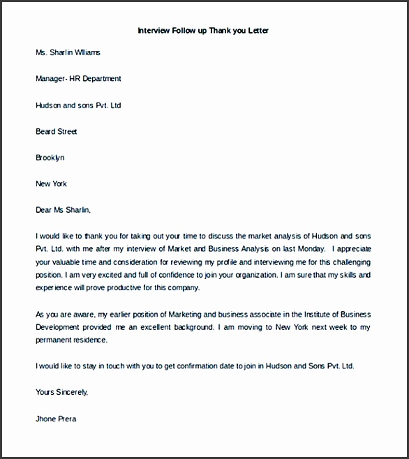 Interview Follow up Thank you Letter Template for Free