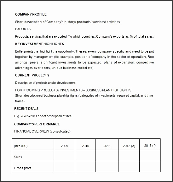 business proposal for investor template