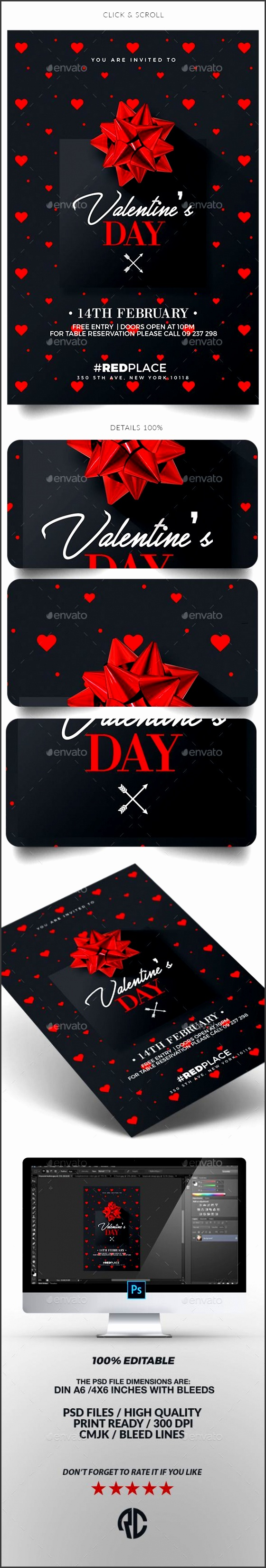 valentines day invitation card template psd