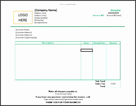 Invoice for hourly rate
