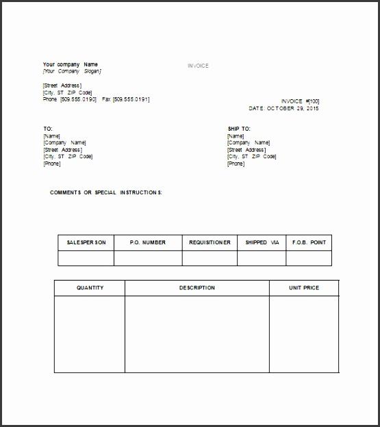 Tax Invoice Template Sample